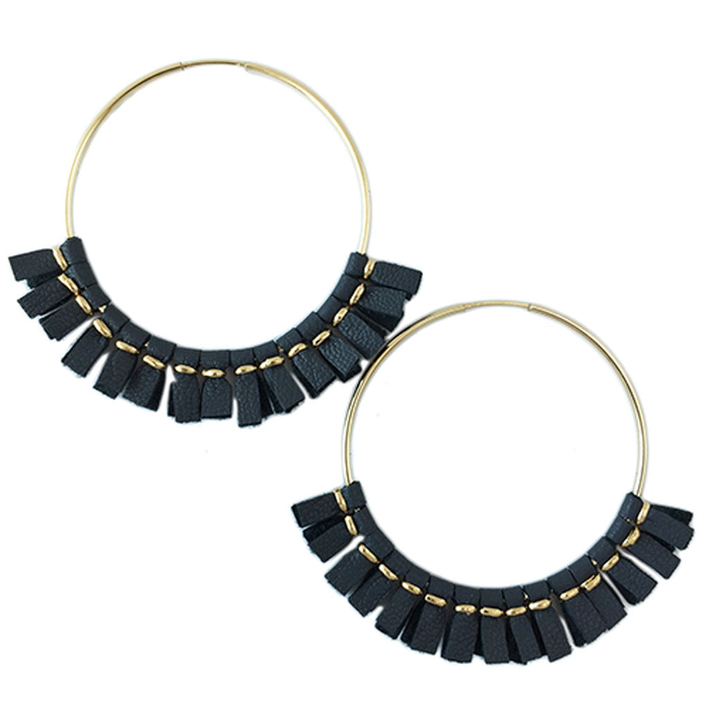 Toby Large Leather Hoop Earrings - Grey/Helene Thomas