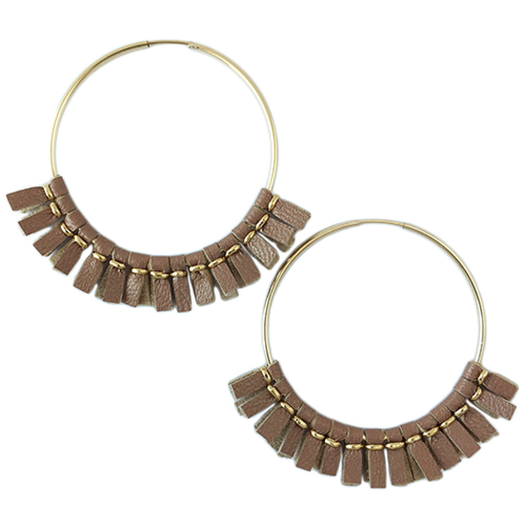Toby Large Leather Hoop Earrings - Rose/Helene Thomas