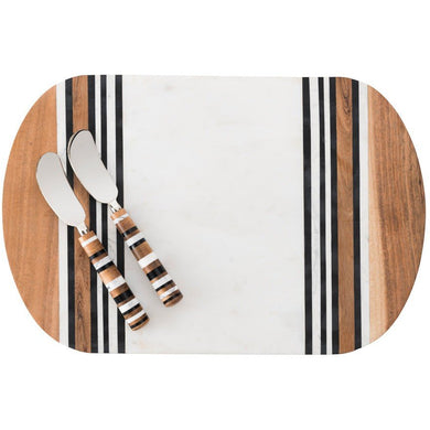 Stonewood Stripe Serving Board & Spreader/Juliska