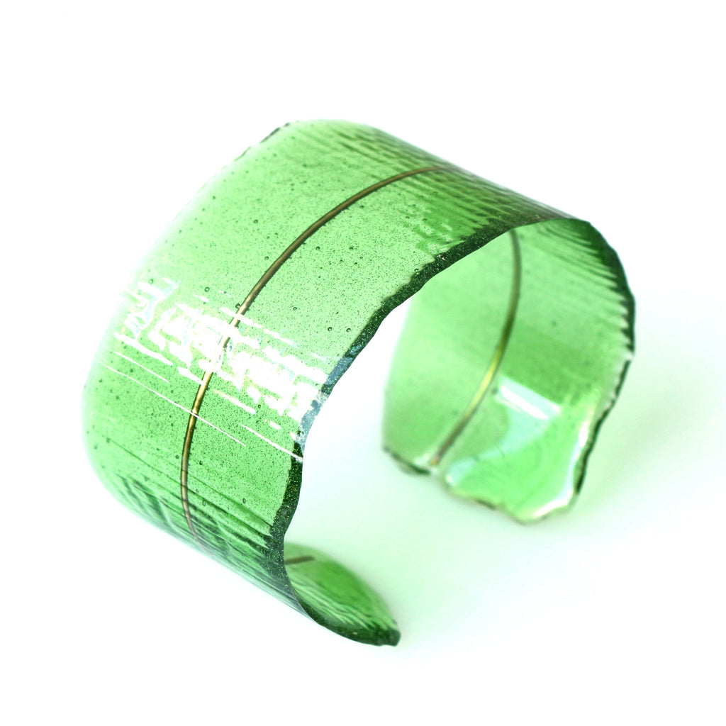 Resin + Brass Cuff Bracelet in Green/Object Make and Model