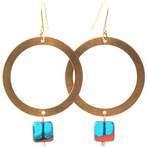 Brass Hoop with Blue Glass Earrings/Object Make and Model