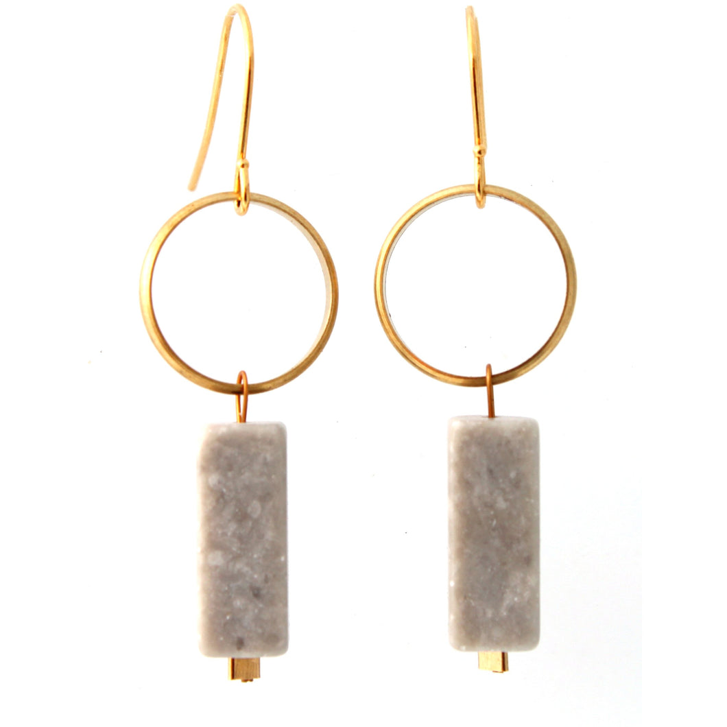 Brass Ring with Gray Marble Earrings/Object Make and Model