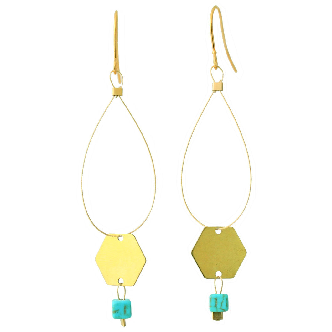 Brass Hexagon with Magnesite Square Earrings/Object Make and Model