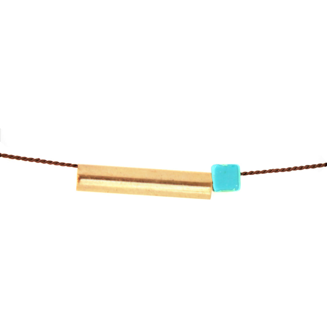 Square Magnesite and Brass Tube Choker/Object Make and Model