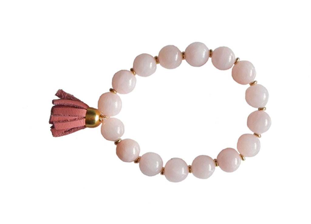 Carly Pink Quartz and Leather Tassel Stretch Bracelet/Helene Thomas