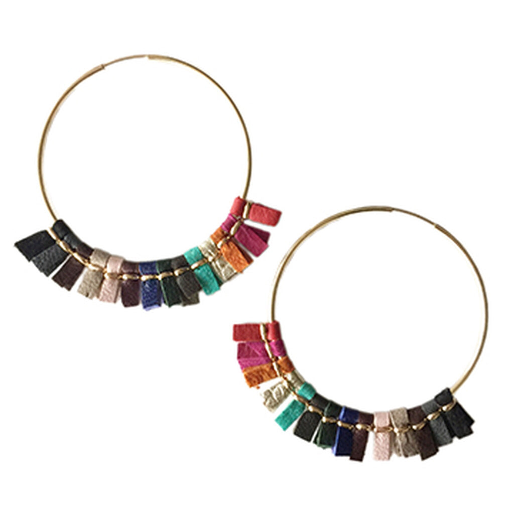 Toby Large Leather Hoop Earrings - Rainbow/Helene Thomas