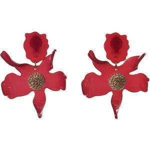 Crystal Lily Earrings in Raspberry/LeLe Sadoughi