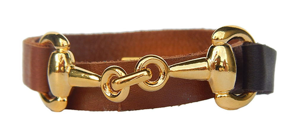 Kelly Saddle Brown Leather HorseBit Wrap Bracelet/Helene Thomas