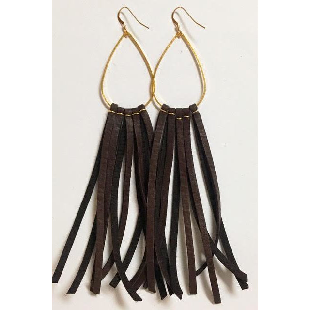 Deerhide Fringe Earrings in Chocolate Brown/Leslie de la Mora