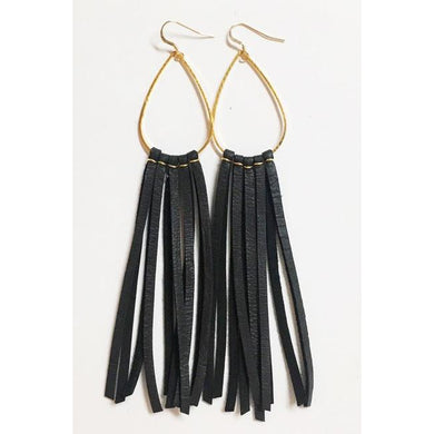 Deerhide Fringe Earrings in Black/Leslie de la Mora