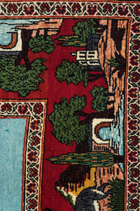 Old Persian Kashan Pictorial 215x133cm