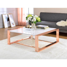 Load image into Gallery viewer, White & Rose Gold Glass Coffee Table