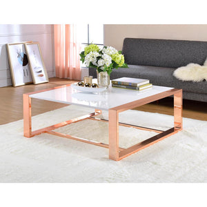 White & Rose Gold Glass Coffee Table