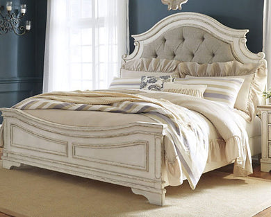 Realyn - Chipped White - Queen Upholstered Panel Bed