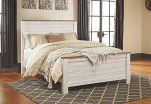 Willowton - Whitewash - Queen Panel Bed