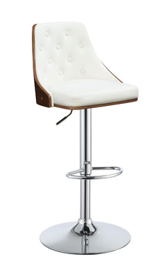White PU/Walnut Swivel Bar Stool