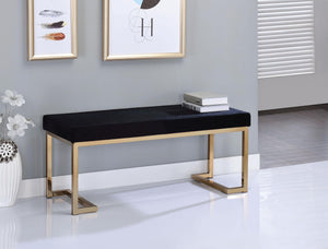 Boice Black Fabric & Champagne Bench