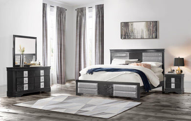 MIA BLACK Bedroom Set 5 PCS. Q.BED,DR,MR,CH,NS