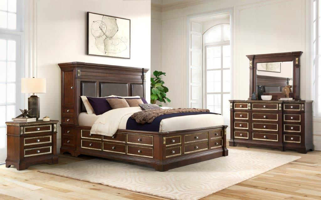 MARSEILLE CHERRY Bedroom Set 7PCS. BED,DR,MR,CH,NS,2 TOWERS.