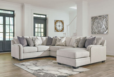 Dellara - Chalk - LAF Loveseat, Wedge, Armless Loveseat & RAF Corner Chaise Sectional