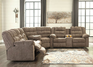Workhorse - Cocoa - REC Sofa, Wedge & DBL REC Loveseat with Console Sectional