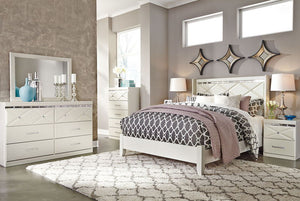 Dreamur - Champagne - 7 Pc. - Dresser, Mirror, Chest, Queen Panel Bed & 2 Nightstands
