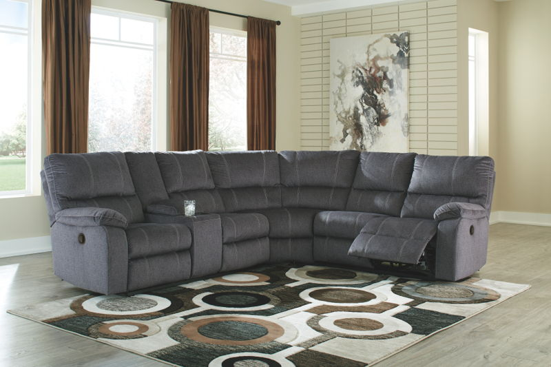 Urbino - Charcoal - LAF DBL REC Loveseat with Console, Wedge & RAF REC Loveseat Sectional