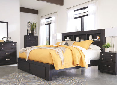 Reylow - Dark Brown - 8 Pc. - Dresser, Mirror, King Bookcase Storage Bed & 2 Nightstands