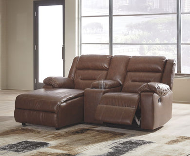 Coahoma - Chestnut - LAF Corner Chaise, Console with Storage & RAF Zero Wall Recliner Sectional