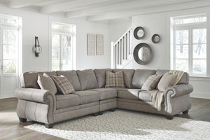 Olsberg - Steel - RAF Sofa with Corner Wedge, LAF Loveseat & Armless Chair Sectional
