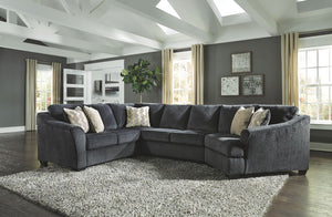 Eltmann - Slate - LAF Sofa with Corner Wedge, Armless Loveseat & RAF Cuddler Sectional