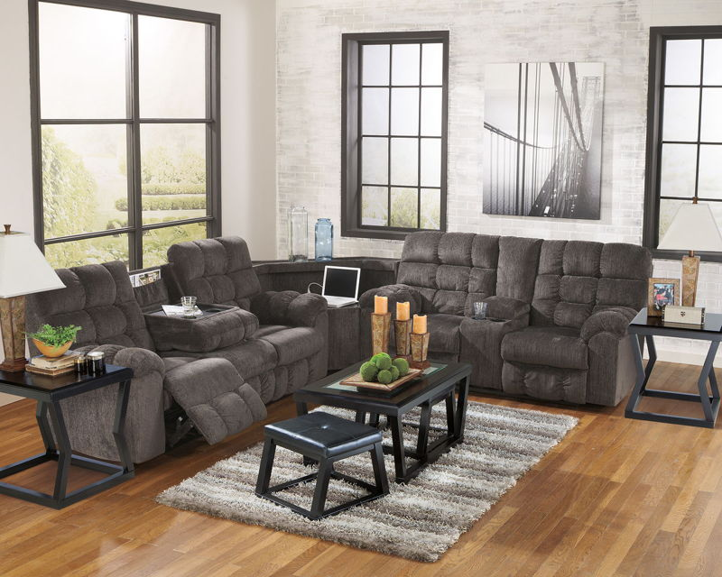 Acieona - Slate - REC Sofa with Drop Down Table, Wedge & DBL Rec Loveseat with Console Sectional