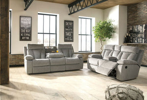 Mitchiner - Fog - REC Sofa with Drop Down Table & DBL REC Loveseat with Console