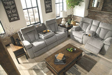Load image into Gallery viewer, Mitchiner - Fog - REC Sofa with Drop Down Table & DBL REC Loveseat with Console