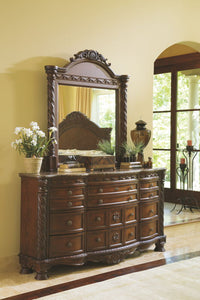 North Shore - Dark Brown - 7 Pc. - Dresser, Mirror, California King Sleigh Bed & 2 Nightstands