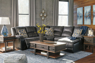 Nantahala - Slate - LAF Zero Wall Recliner, Wedge, Armless Chair & RAF Corner Chaise Sectional