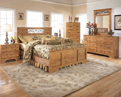 Bittersweet - Light Brown - 7 Pc. - Dresser, Mirror, Queen Panel Bed & 2 Nightstands