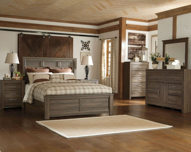 Juararo - Dark Brown - 7 Pc. - Dresser, Mirror, Queen Panel Bed & 2 Nightstands