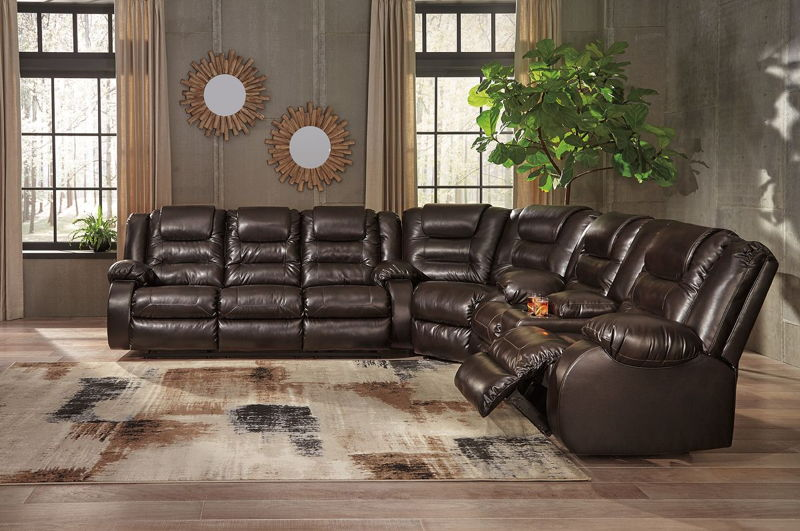 Vacherie - Chocolate - REC Sofa, Wedge & DBL REC Loveseat with Console Sectional