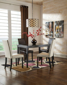 Kimonte - Dark Brown - 5 Pc. - RECT DRM Table, 2 Ivory UPH Side Chairs & 2 Brown UPH Side Chairs
