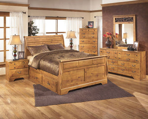 Bittersweet - Light Brown - 7 Pc. - Dresser, Mirror, Chest & Queen Sleigh Storage Bed