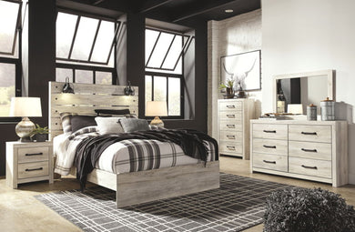 Cambeck - Whitewash - 7 Pc. - Dresser, Mirror, Queen Panel Bed & 2 Nightstands