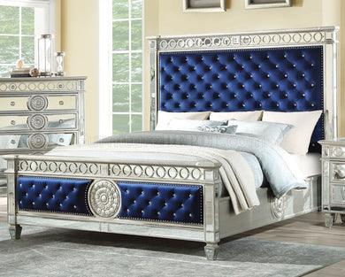 Blue Velvet & Mirrored Bed