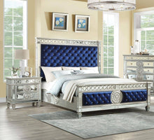 Load image into Gallery viewer, Blue Velvet & Mirrored Bed