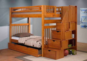 STAIRWAY BUNK WITH TRUNDLE