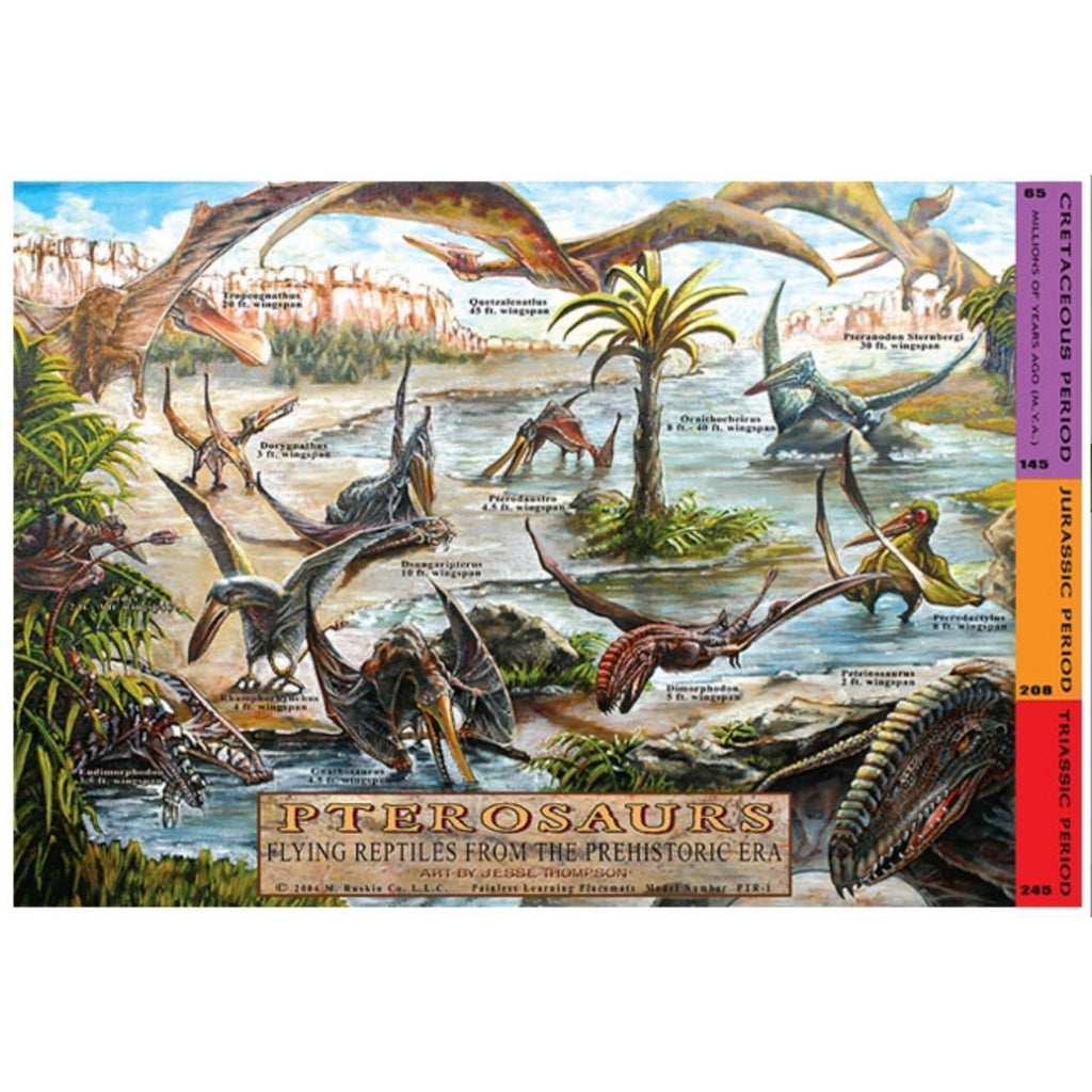 Learning Placemats | Pterosaurs Flying Reptiles From The Prehistoric Era