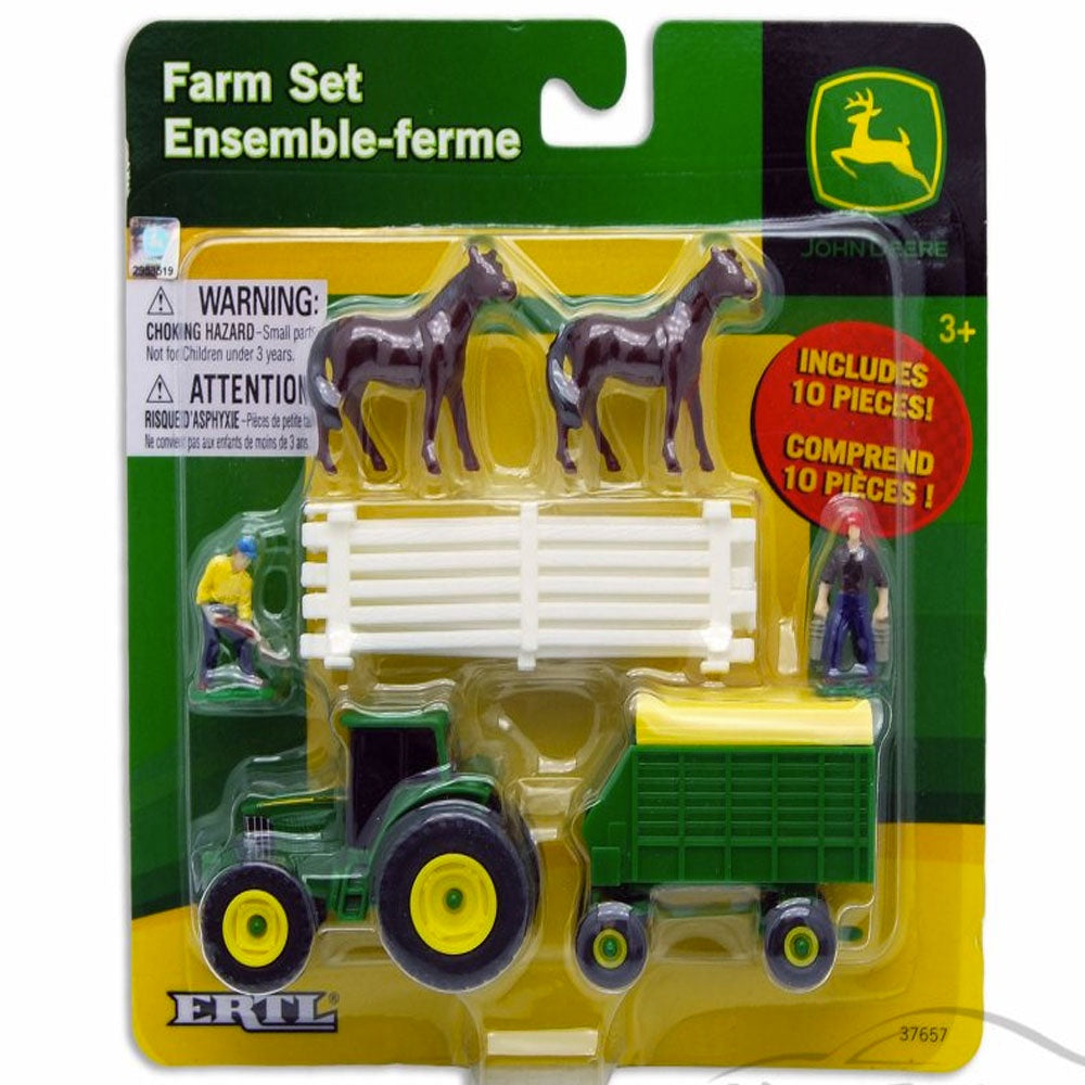 John Deere | 10 Piece Farm Set - Horses with White Fence