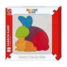 Hape | 7 Piece Wooden Puzzle - Rainbow Rabbit