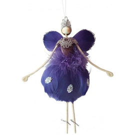 Urban Products | Violet Feather Hanging Angel 16cm