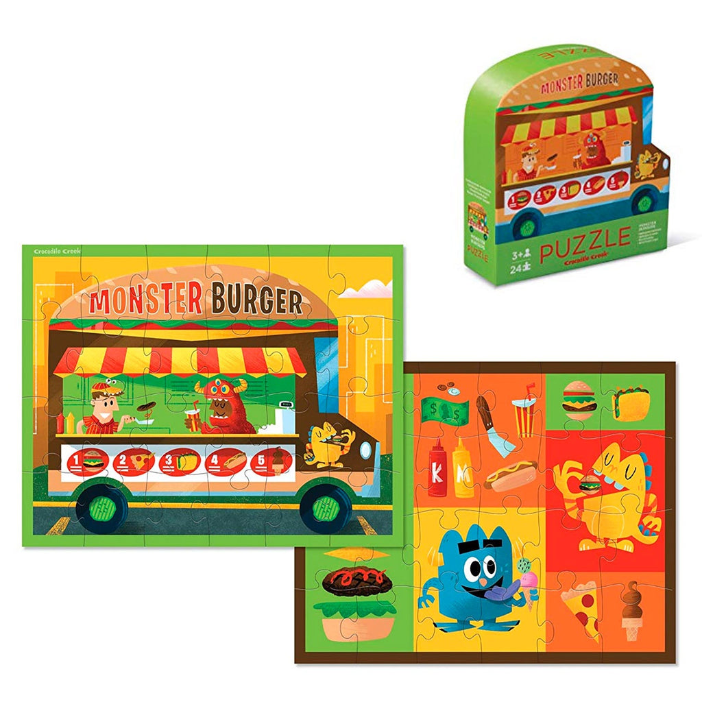 Crocodile Creek | 24 Piece Two Sided Puzzle - Monster Burger Food; Crocodile Creek Truck